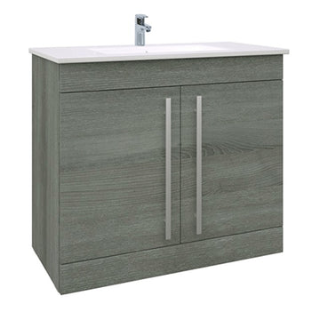 Pure 900mm Floor Standing 2 Door Bathroom Vanity Unit and Basin - Grey Ash