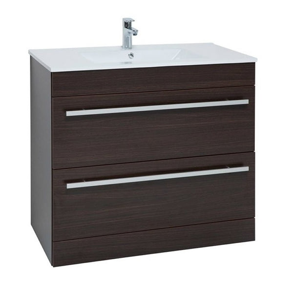 Pure 900mm Floor Standing 2 Drawer Bathroom Vanity Unit and Basin - Chestnut