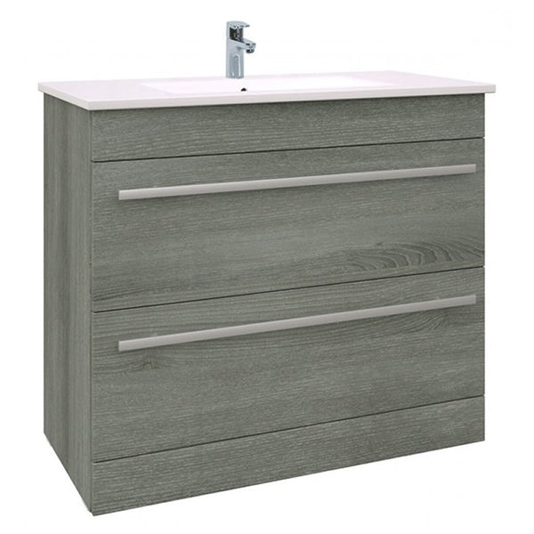 Pure 900mm Floor Standing 2 Drawer Bathroom Vanity Unit and Basin - Grey Ash