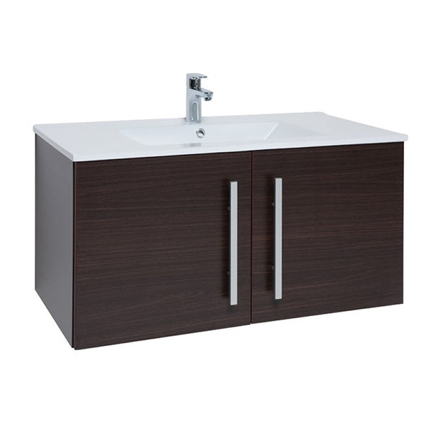 Pure 900mm Wall Mounted 2 Door Bathroom Vanity Unit and Basin - Chestnut