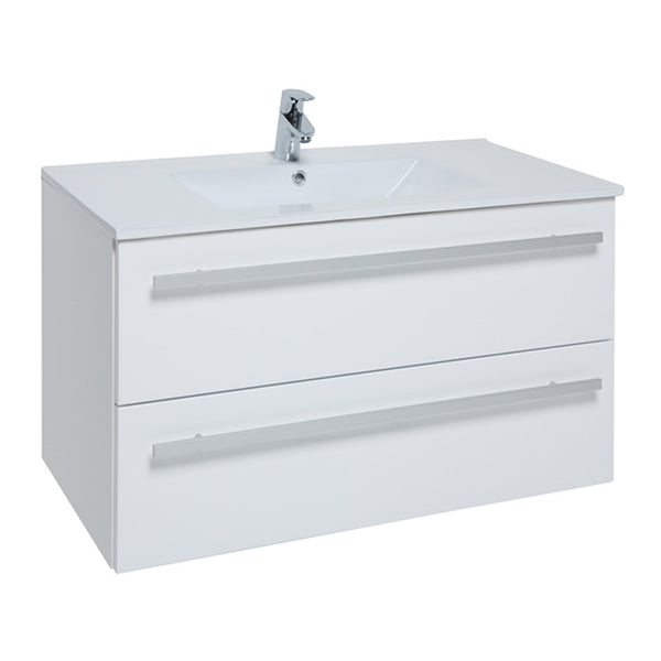 Pure 900mm Wall Mounted 2 Drawer Bathroom Vanity Unit and Basin - White