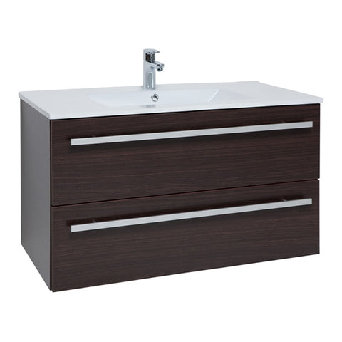 Pure 900mm Wall Mounted 2 Drawer Bathroom Vanity Unit and Basin - Chestnut