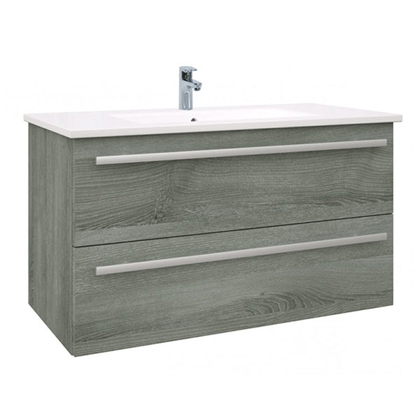 Pure 900mm Wall Mounted 2 Drawer Bathroom Vanity Unit and Basin - Grey Ash