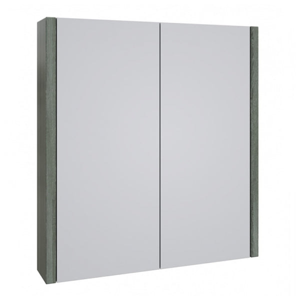 Pure 600mm Wall Mounted Mirror Bathroom Cabinet - Grey Ash