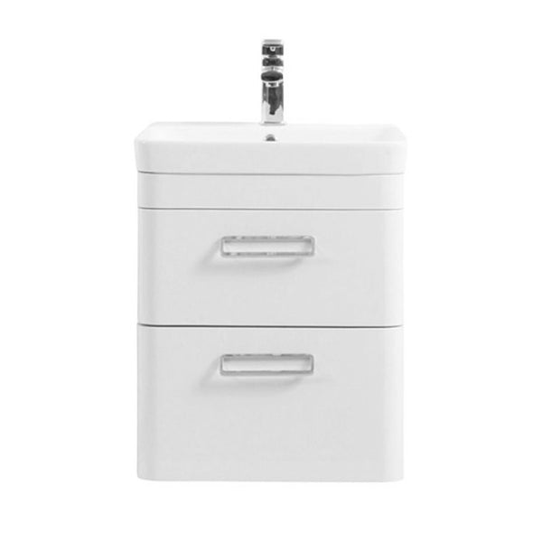 Subway 500mm Wall Mounted 2 Drawer Bathroom Vanity Unit and Basin - White