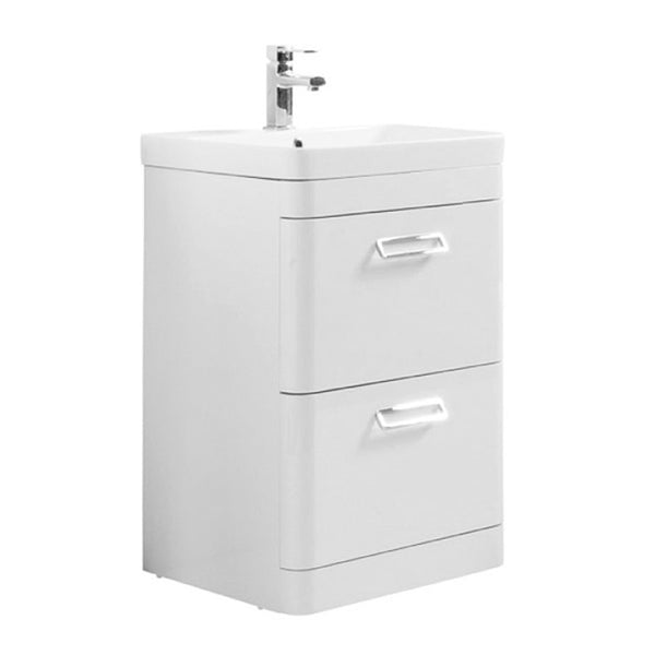 Subway 500mm Floor Standing 2 Drawer Bathroom Vanity Unit and Basin - White