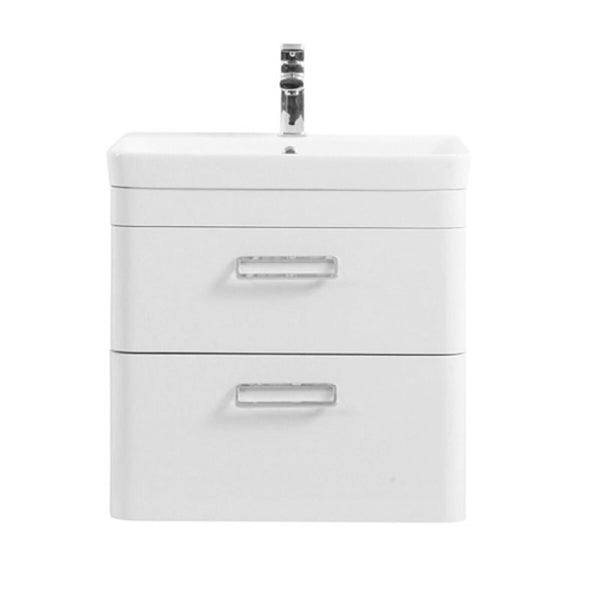 Subway 600mm Wall Mounted 2 Drawer Bathroom Vanity Unit and Basin - White