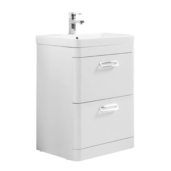 Subway 600mm Floor Standing 2 Drawer Bathroom Vanity Unit and Basin - White