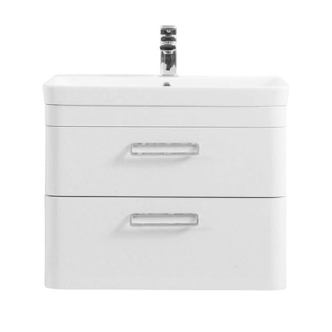 Subway 800mm Wall Mounted 2 Drawer Bathroom Vanity Unit and Basin - White