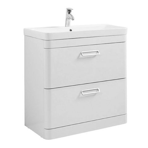 Subway 800mm Floor Standing 2 Drawer Bathroom Vanity Unit and Basin - White