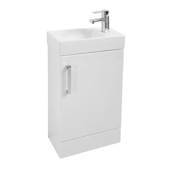 Fortune 450mm Floor Standing 1 Door Vanity Bathroom Unit and Basin - White