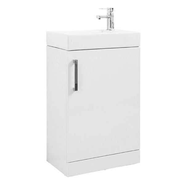Fortune 550mm Floor Standing 1 Door Vanity Bathroom Unit and Basin - White