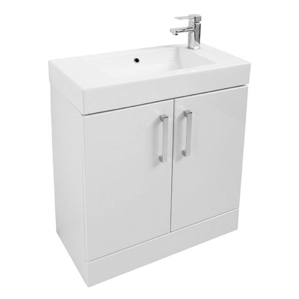 Fortune 700mm Floor Standing 1 Door Vanity Bathroom Unit and Basin - White