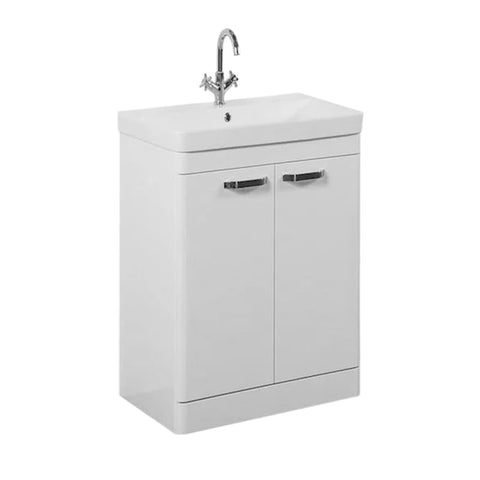 Optimal 600mm Floor Standing 2 Door Bathroom Vanity Unit and Basin - White