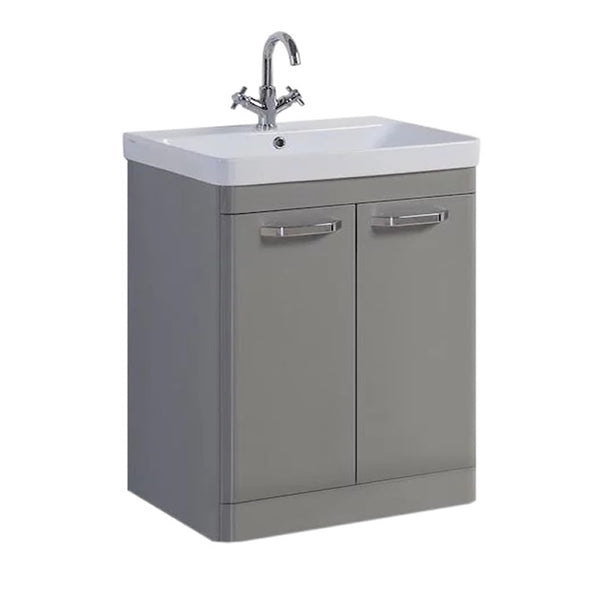 Optimal 800mm Floor Standing 2 Door Bathroom Vanity Unit and Basin - Basalt Grey
