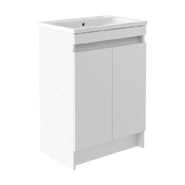 Inspired 600mm Floor Standing 2 Door Bathroom Vanity Unit and Basin - White Gloss