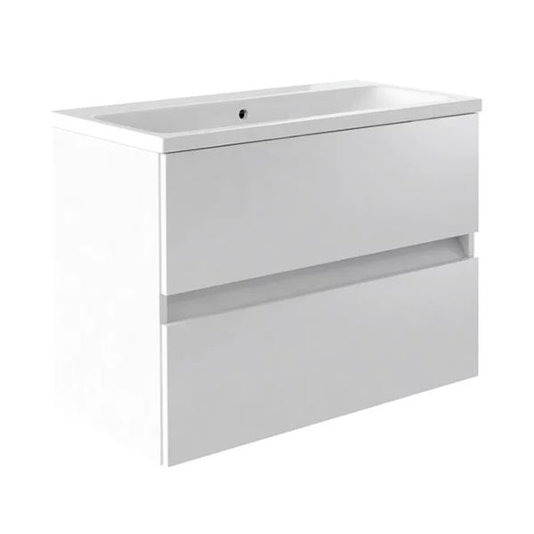 Inspired 800mm Wall Mounted 2 Drawer Bathroom Vanity Unit and Basin - White Gloss