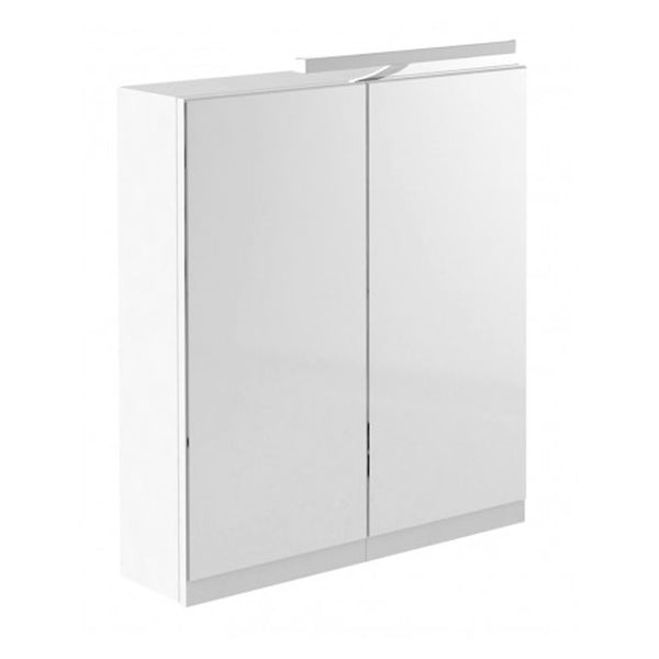 Inspired 600mm Bathroom Mirror Cabinet with Light and Shaver Socket - White Gloss
