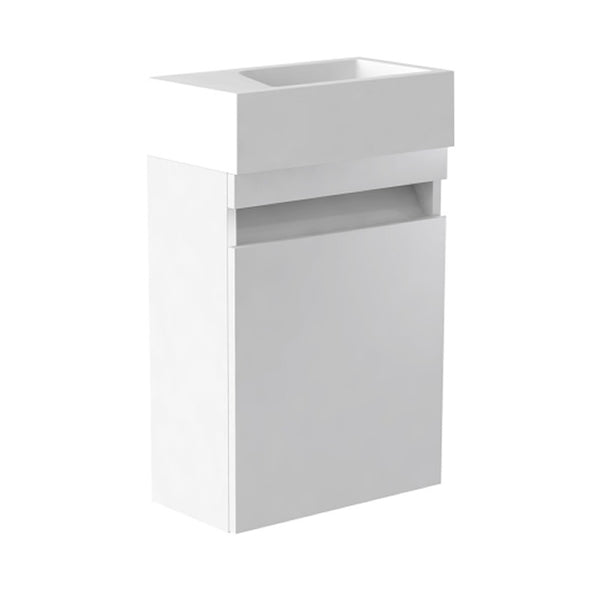 Inspired 400mm Wall Mounted Cloakroom 1 Door Bathroom Vanity Unit and Basin - Left Hand White Gloss