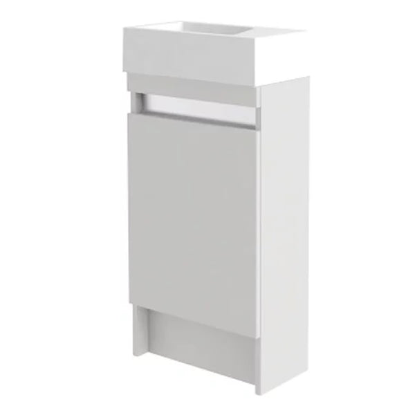 Inspired 400mm Floor Standing 1 Door Cloakroom Bathroom Vanity Unit and Basin - Right Hand White Gloss