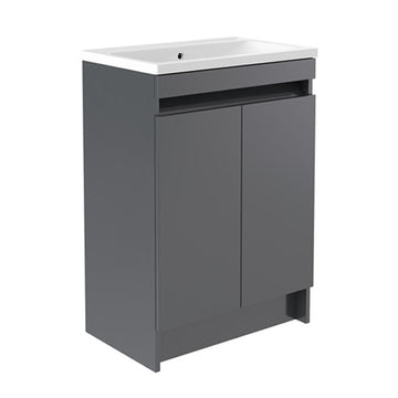 Inspired 600mm Floor Standing 2 Door Bathroom Vanity Unit and Basin - Grey Gloss