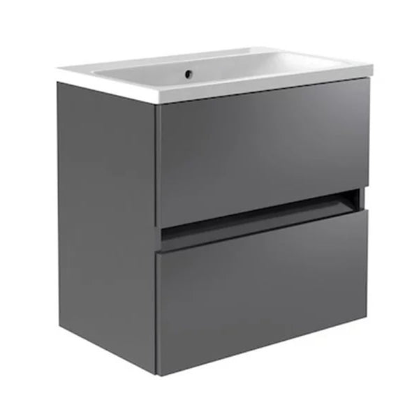 Inspired 600mm Wall Mounted 2 Drawer Bathroom Vanity Unit and Basin - Grey Gloss