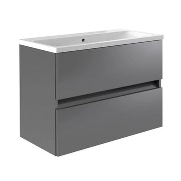Inspired 800mm Wall Mounted 2 Drawer Bathroom Vanity Unit and Basin - Grey Gloss