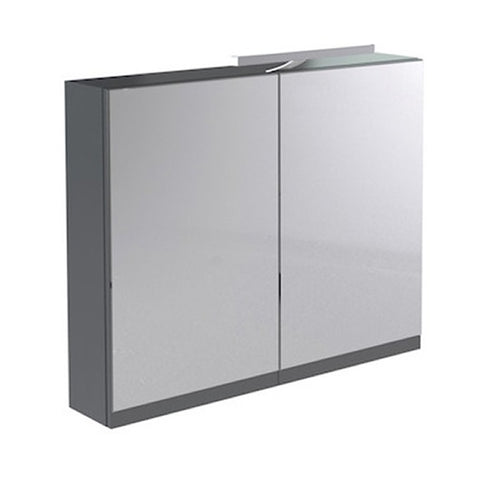 Inspired 600mm Bathroom Mirror Cabinet with Light and Shaver Socket - Grey Gloss