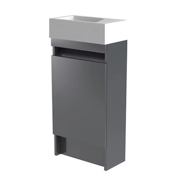 Inspired 400mm Floor Standing 1 Door Cloakroom Bathroom Vanity Unit and Basin - Right Hand Grey Gloss