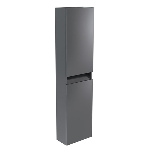Inspired 1600mm Bathroom Wall Mounted Tall Side Unit - Grey Gloss LH and RH