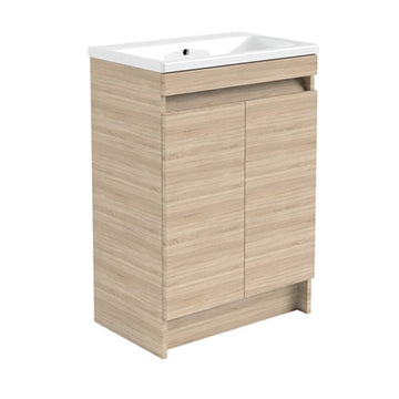 Inspired 600mm Floor Standing 2 Door Bathroom Vanity Unit and Basin - Natural Oak