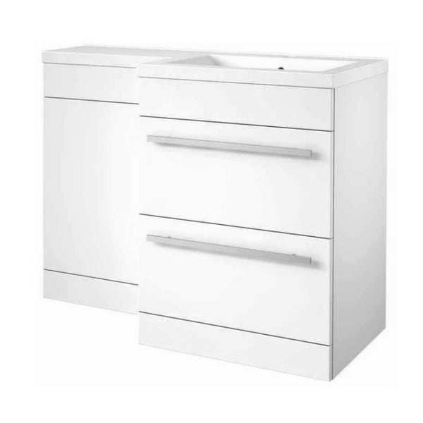 Live 1100mm 2 Drawer L-Shaped Bathroom Vanity Unit, Basin and WC Toilet Unit - White Gloss RH