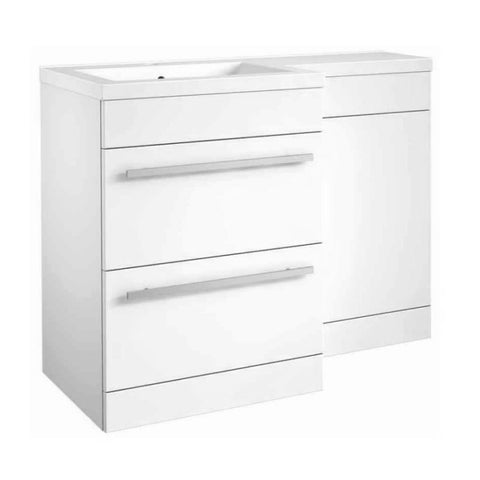 Live 1100mm 2 Drawer L-Shaped Bathroom Vanity Unit, Basin and WC Toilet Unit - White Gloss LH