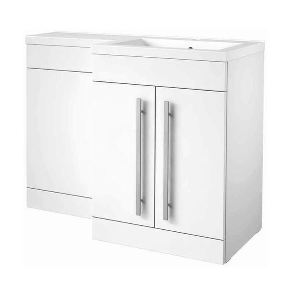 Live 1100mm 2 Door L-Shaped Bathroom Vanity Unit, Basin and WC Toilet Unit - White Gloss RH