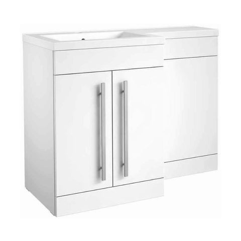 Live 1100mm 2 Door L-Shaped Bathroom Vanity Unit, Basin and WC Toilet Unit - White Gloss LH