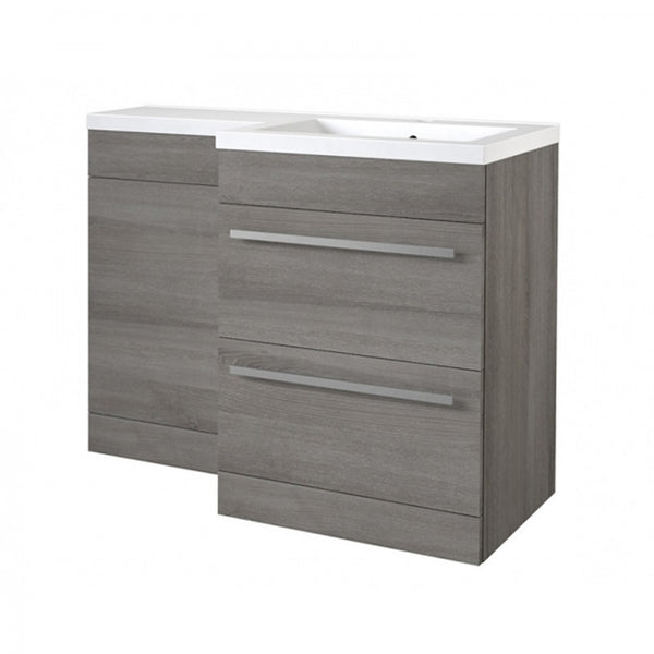 Live 1100mm 2 Drawer L-Shaped Bathroom Vanity Unit, Basin and WC Toilet Unit - Grey Ash RH