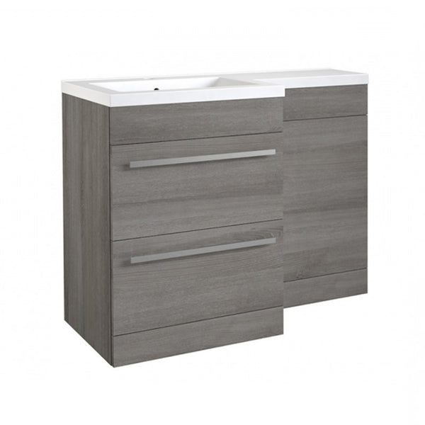 Live 1100mm 2 Drawer L-Shaped Bathroom Vanity Unit, Basin and WC Toilet Unit - Grey Ash LH