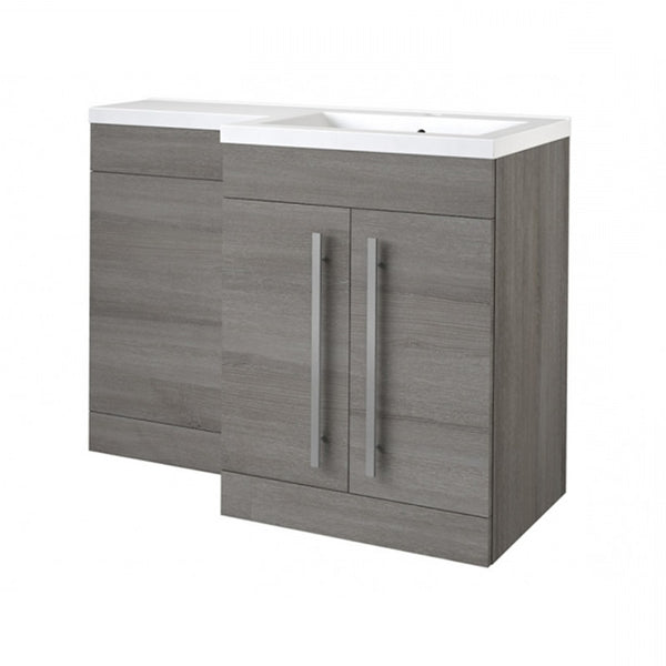 Live 1100mm 2 Door L-Shaped Bathroom Vanity Unit, Basin and WC Toilet Unit - Grey Ash RH