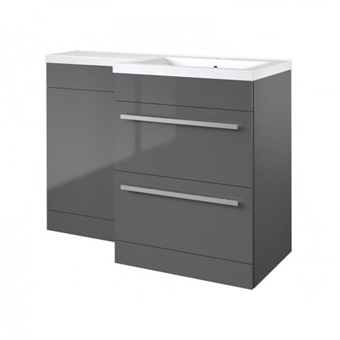Live 1100mm 2 Drawer L-Shaped Bathroom Vanity Unit, Basin and WC Toilet Unit - Grey Gloss RH