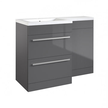 Live 1100mm 2 Drawer L-Shaped Bathroom Vanity Unit, Basin and WC Toilet Unit - Grey Gloss LH