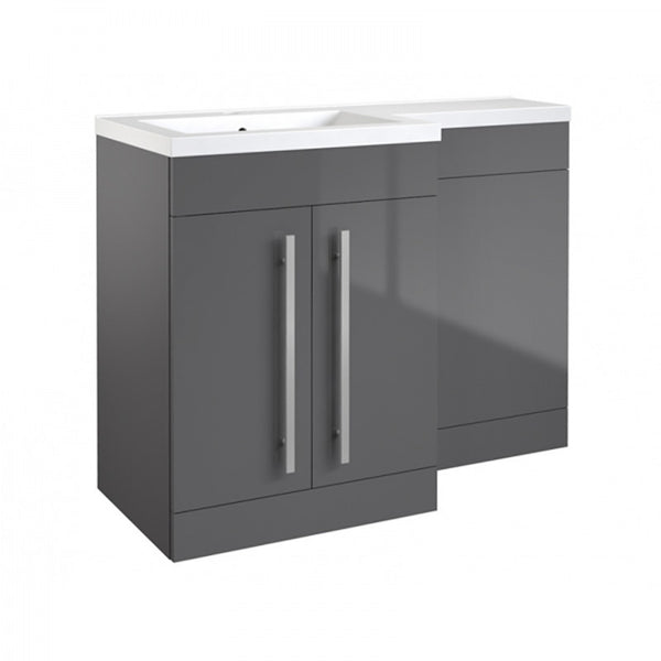 Live 1100mm 2 Door L-Shaped Bathroom Vanity Unit, Basin and WC Toilet Unit - Grey Gloss LH