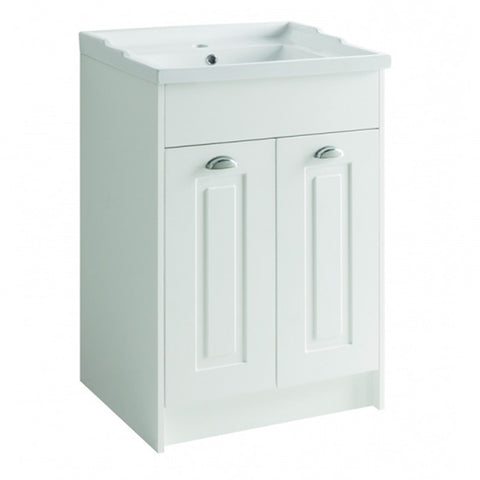 Artistc 600mm Floor Standing 2 Door Bathroom Vanity Unit and Basin - Matt White