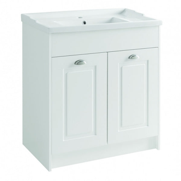 Artistc 800mm Floor Standing 2 Door Bathroom Vanity Unit and Basin - Matt White