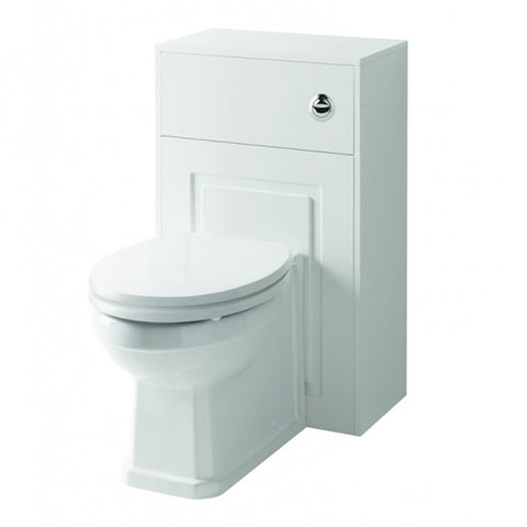 Artistic 500mm WC Toilet Bathroom Furniture Unit with Toilet Pan, Cistern and Toilet Seat - Matt White