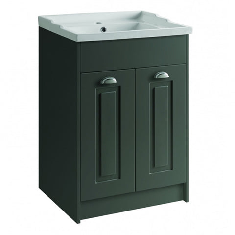 Artistc 600mm Floor Standing 2 Door Bathroom Vanity Unit and Basin - Matt Grey