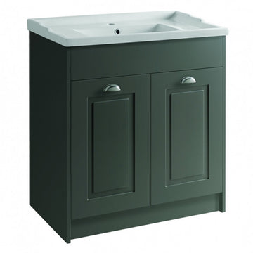 Artistc 800mm Floor Standing 2 Door Bathroom Vanity Unit and Basin - Matt Grey