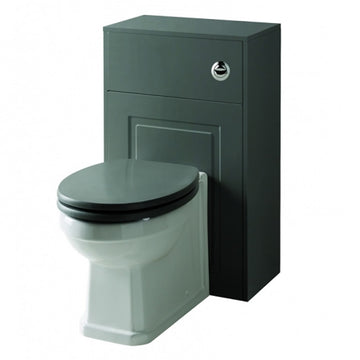 Artistic 500mm WC Toilet Bathroom Furniture Unit with Toilet Pan, Cistern and Toilet Seat - Matt Grey