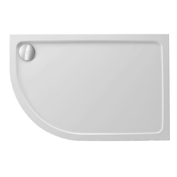 Power 900mm x 760mm Offset Quadrant Stone Shower Tray - Left Hand and 90mm Fast Flow Waste
