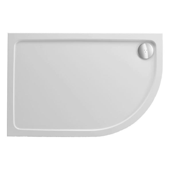 Power 900mm x 760mm Offset Quadrant Stone Shower Tray - Right Hand and 90mm Fast Flow Waste