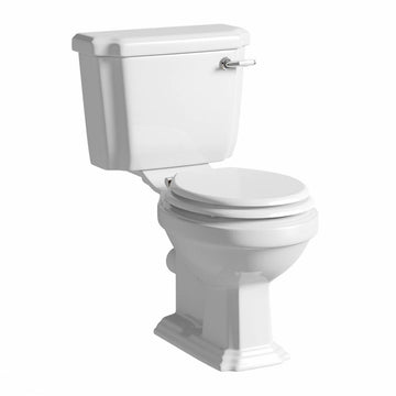 Artistic Close Coupled WC Toilet Pan, Lever Cistern and Soft Close Toilet Seat